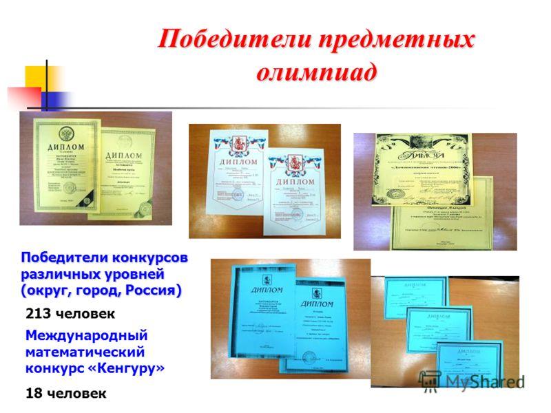 Победители предметных олимпиад Международный математический конкурс «Кенгуру» 18 человек Победители конкурсов различных уровней (округ, город, Россия) 213 человек
