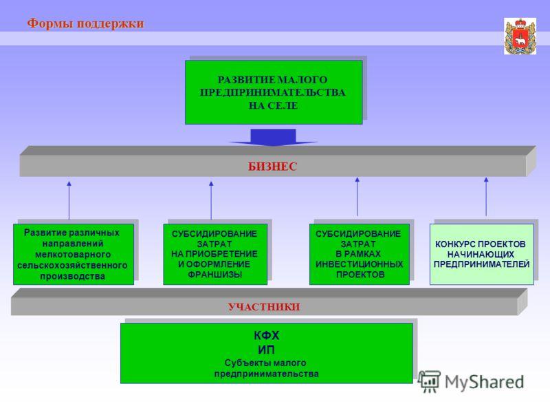 Формы поддержки РАЗВИТИЕ МАЛОГО ПРЕДПРИНИМАТЕЛЬСТВА НА СЕЛЕ РАЗВИТИЕ МАЛОГО ПРЕДПРИНИМАТЕЛЬСТВА НА СЕЛЕ БИЗНЕС Развитие различных направлений мелкотоварного сельскохозяйственного производства Развитие различных направлений мелкотоварного сельскохозяй