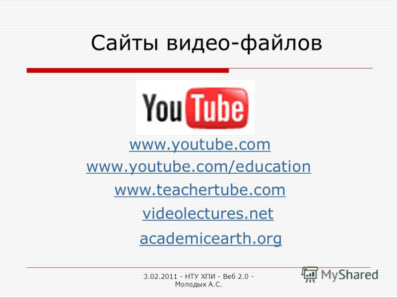 3.02.2011 - НТУ ХПИ - Веб 2.0 - Молодых А.С. www.youtube.com/education Сайты видео-файлов www.teachertube.com www.youtube.com videolectures.net academicearth.org