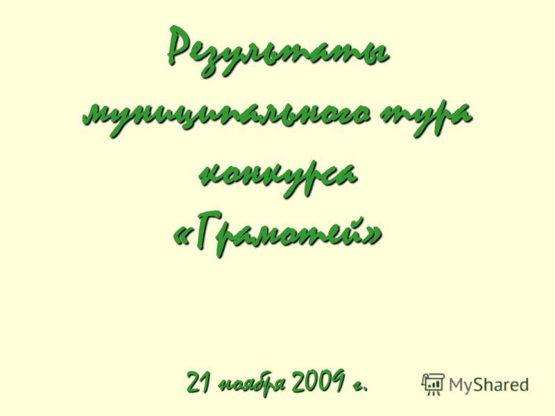 Результаты муниципального тура конкурса «Грамотей» 21 ноября 2009 г.