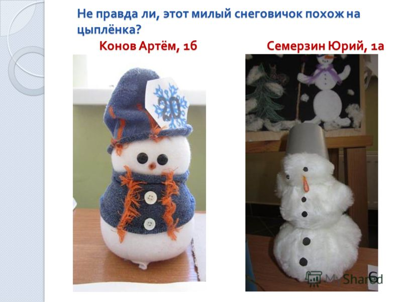Не правда ли, этот милый снеговичок похож на цыплёнка ? Конов Артём, 1 б Семерзин Юрий, 1 а