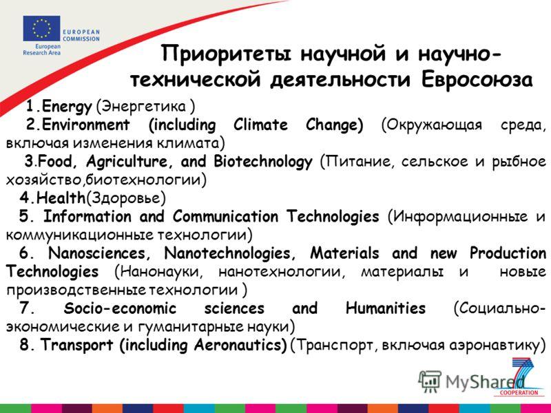 Приоритеты научной и научно- технической деятельности Евросоюза 1.Energy (Энергетика ) 2.Environment (including Climate Change) (Окружающая среда, включая изменения климата) 3.Food, Agriculture, and Biotechnology (Питание, сельское и рыбное хозяйство