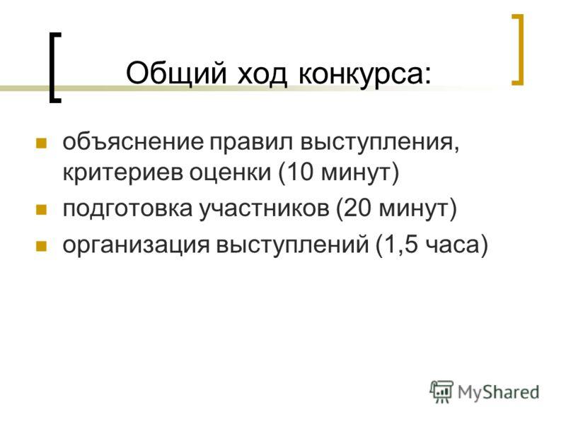 Общий ход конкурса: объяснение правил выступления, критериев оценки (10 минут) подготовка участников (20 минут) организация выступлений (1,5 часа)