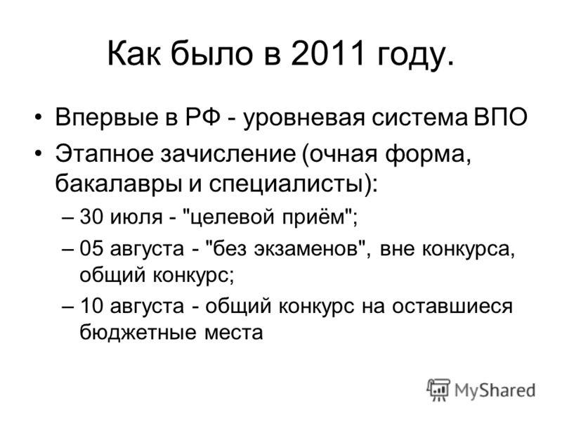 Как было в 2011 году. Впервые в РФ - уровневая система ВПО Этапное зачисление (очная форма, бакалавры и специалисты): –30 июля -