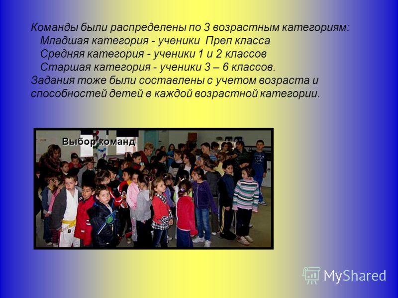 Команды были распределены по 3 возрастным категориям: Младшая категория - ученики Преп класса Средняя категория - ученики 1 и 2 классов Старшая категория - ученики 3 – 6 классов. Задания тоже были составлены с учетом возраста и способностей детей в к