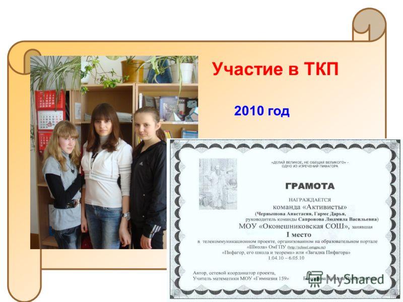2010 год Участие в ТКП