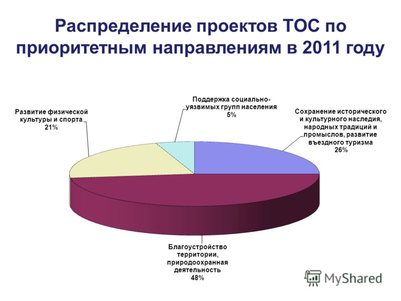 Распределение проектов ТОС по приоритетным направлениям в 2011 году