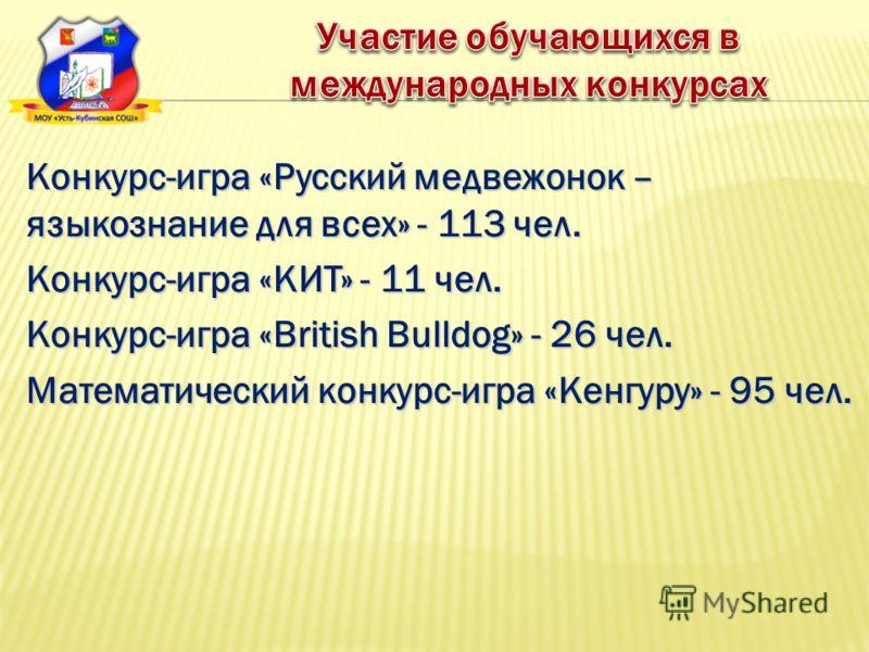 Конкурс-игра «Русский медвежонок – языкознание для всех» - 113 чел. Конкурс-игра «КИТ» - 11 чел. Конкурс-игра «British Bulldog» - 26 чел. Математический конкурс-игра «Кенгуру» - 95 чел.