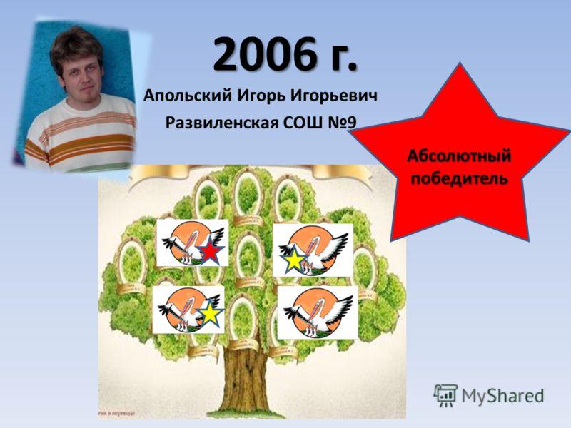 2006 г. Абсолютный победитель Апольский Игорь Игорьевич Развиленская СОШ 9