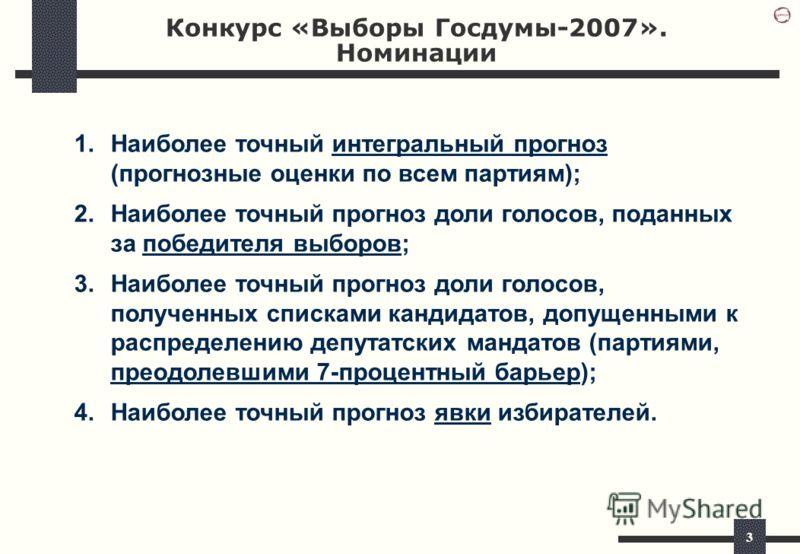 3 Конкурс «Выборы Госдумы-2007». Номинации 1.Наиболее точный интегральный прогноз (прогнозные оценки по всем партиям); 2.Наиболее точный прогноз доли голосов, поданных за победителя выборов; 3.Наиболее точный прогноз доли голосов, полученных списками