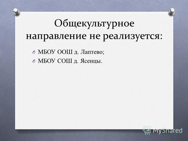 Общекультурное направление не реализуется: O МБОУ ООШ д. Лаптево; O МБОУ СОШ д. Ясенцы.