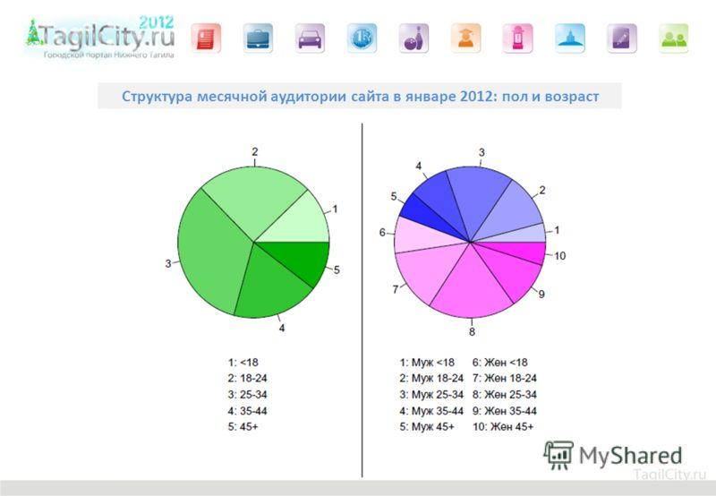 Структура месячной аудитории сайта в январе 2012: пол и возраст