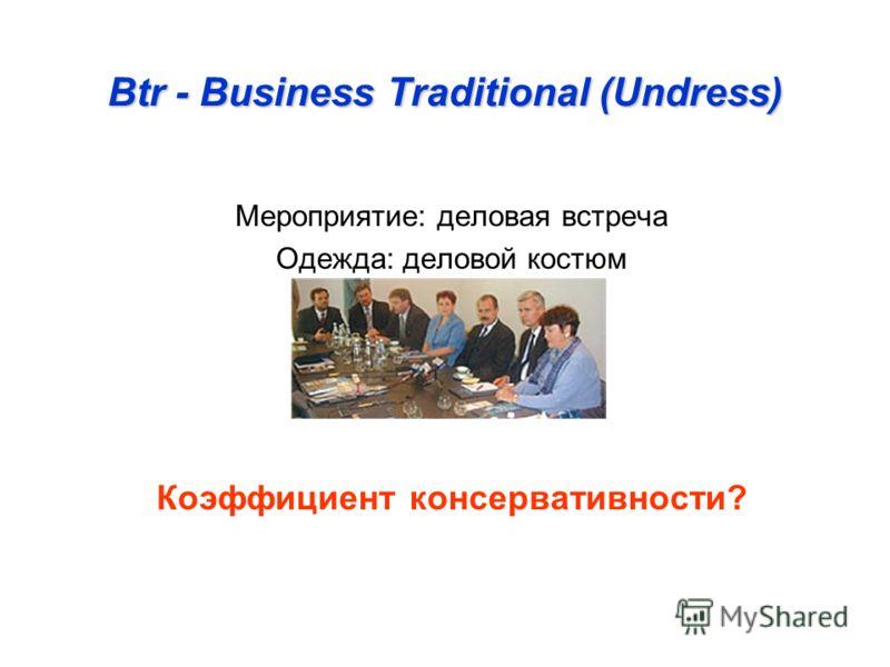 Btr - Business Traditional (Undress) Мероприятие: деловая встреча Одежда: деловой костюм Коэффициент консервативности?