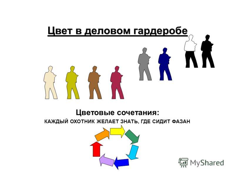 Цвет в деловом гардеробе Цветовые сочетания: КАЖДЫЙ ОХОТНИК ЖЕЛАЕТ ЗНАТЬ, ГДЕ СИДИТ ФАЗАН
