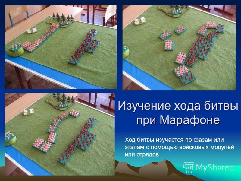 Изучение хода битвы при Марафоне Ход битвы изучается по фазам или этапам с помощью войсковых модулей или отрядов