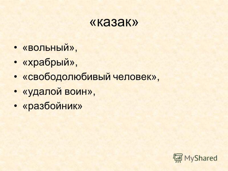 «казак» «вольный», «храбрый», «свободолюбивый человек», «удалой воин», «разбойник»