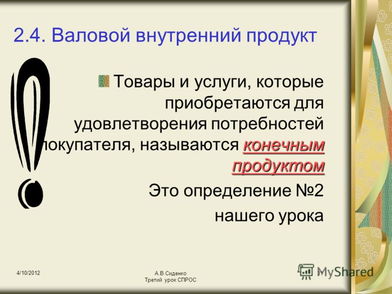 18/08/2012 А.В.Сиденко Третий урок СПРОС 31 2.4. Валовой внутренний продукт конечным продуктом Товары и услуги, которые приобретаются для удовлетворения потребностей покупателя, называются конечным продуктом Это определение 2 нашего урока