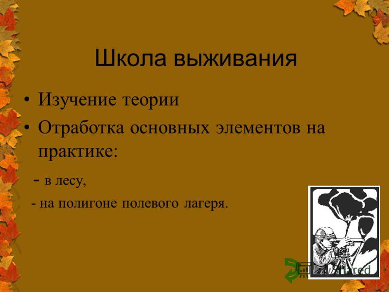 Школа выживания Изучение теории Отработка основных элементов на практике: - в лесу, - на полигоне полевого лагеря.