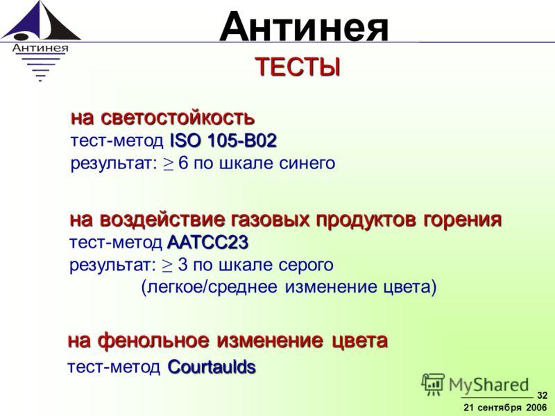 Антинея 32 21 сентября 2006 на светостойкость ISO 105-В02 на светостойкость тест-метод ISO 105-В02 результат: 6 по шкале синего на воздействие газовых продуктов горения AATCC23 на воздействие газовых продуктов горения тест-метод AATCC23 результат: 3
