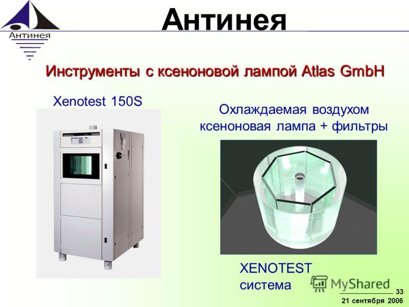 Антинея 33 21 сентября 2006 Инструменты с ксеноновой лампой Atlas GmbH Xenotest 150S XENOTEST система Охлаждаемая воздухом ксеноновая лампа + фильтры