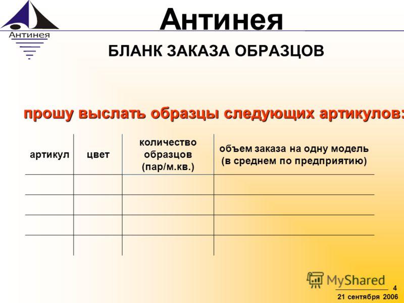 Антинея 4 21 сентября 2006 БЛАНК ЗАКАЗА ОБРАЗЦОВ артикулцвет количество образцов (пар/м.кв.) объем заказа на одну модель (в среднем по предприятию) прошу выслать образцы следующих артикулов: