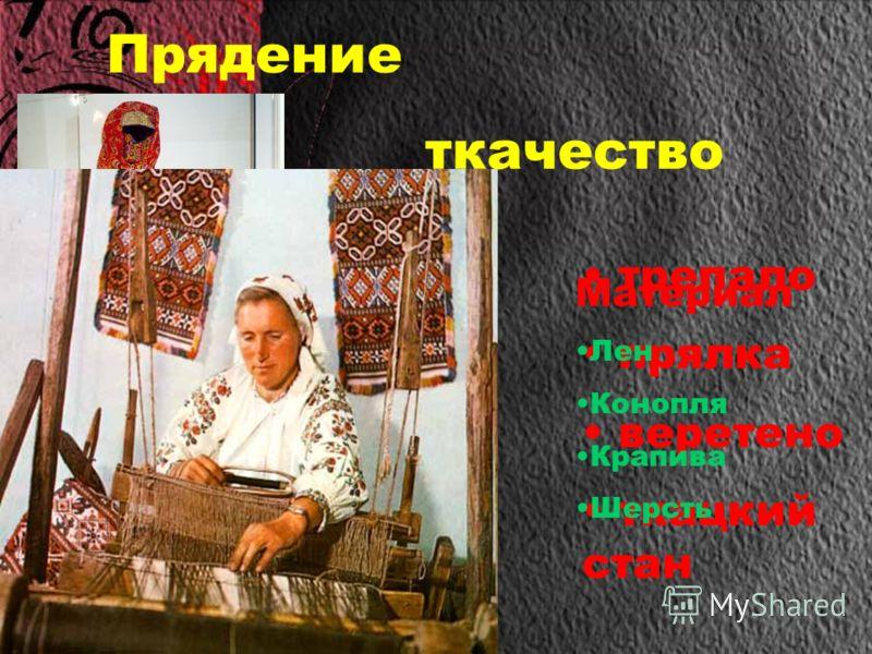 Прядение ткачество трепало прялка веретено ткацкий стан Материал Лен Конопля Крапива Шерсть