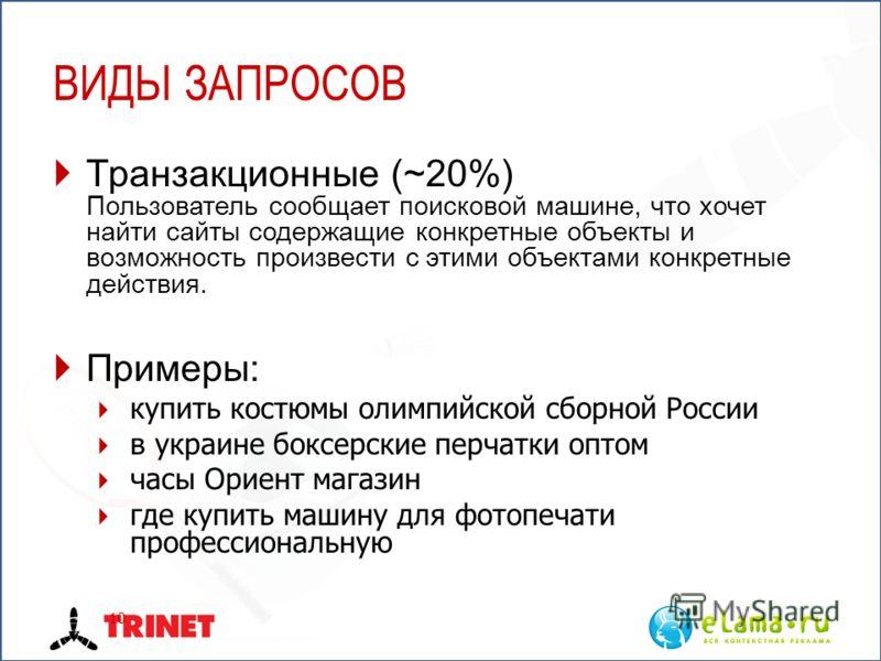 ВИДЫ ЗАПРОСОВ Транзакционные (~20%) Пользователь сообщает поисковой машине, что хочет найти сайты содержащие конкретные объекты и возможность произвести с этими объектами конкретные действия. Примеры: купить костюмы олимпийской сборной России в украи