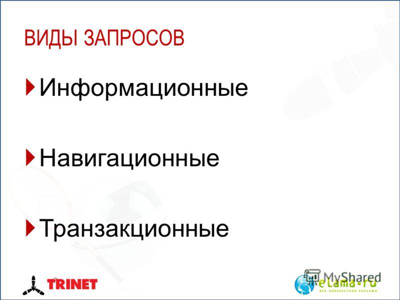 ВИДЫ ЗАПРОСОВ Информационные Навигационные Транзакционные 7