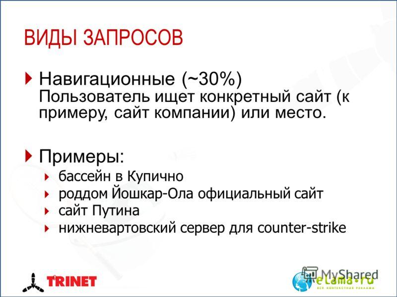 ВИДЫ ЗАПРОСОВ Навигационные (~30%) Пользователь ищет конкретный сайт (к примеру, сайт компании) или место. Примеры: бассейн в Купично роддом Йошкар-Ола официальный сайт сайт Путина нижневартовский сервер для counter-strike 9