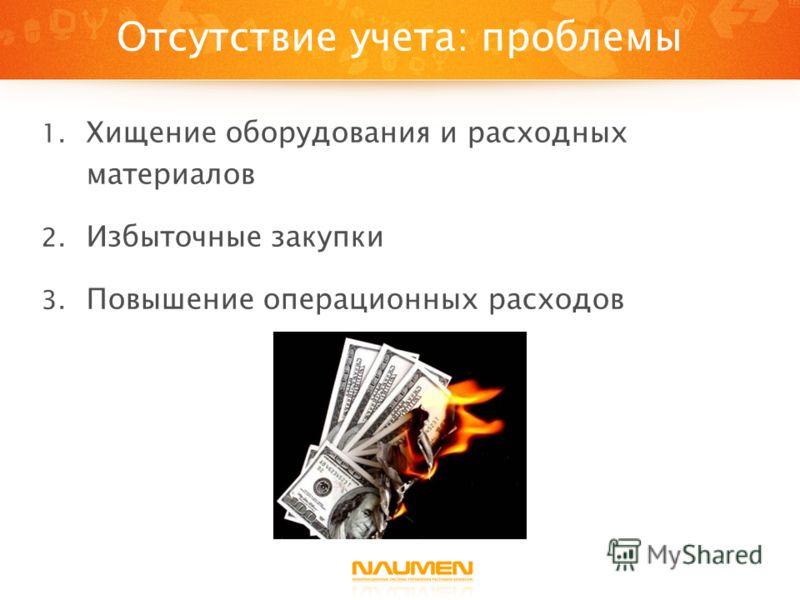 Отсутствие учета: проблемы 1. Хищение оборудования и расходных материалов 2. Избыточные закупки 3. Повышение операционных расходов