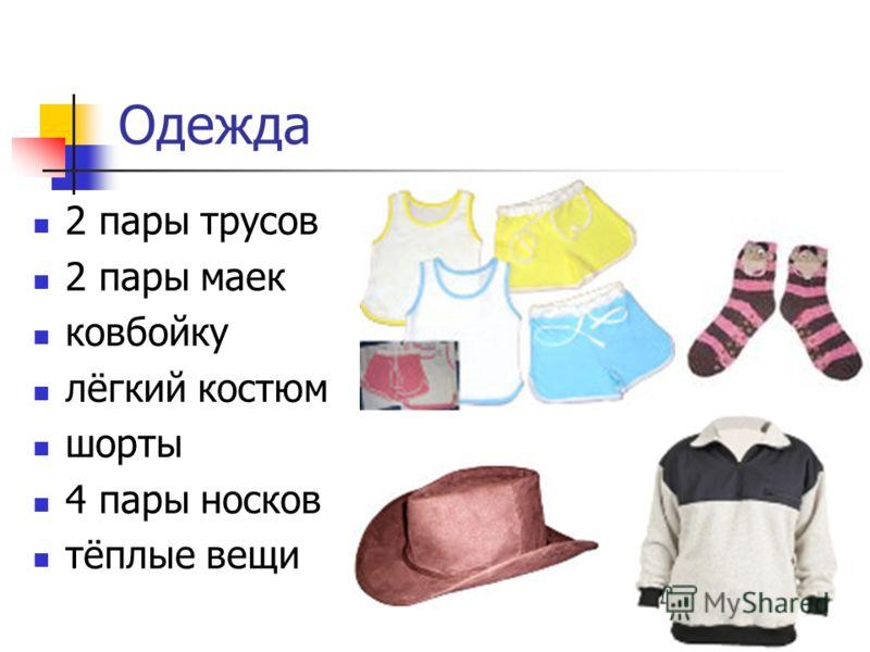 Одежда 2 пары трусов 2 пары маек ковбойку лёгкий костюм шорты 4 пары носков тёплые вещи