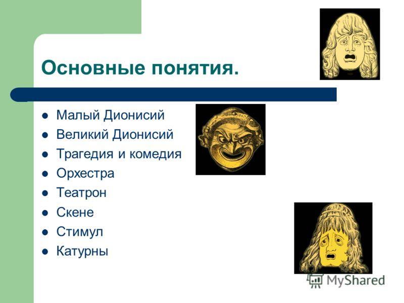 Основные понятия. Малый Дионисий Великий Дионисий Трагедия и комедия Орхестра Театрон Скене Стимул Катурны
