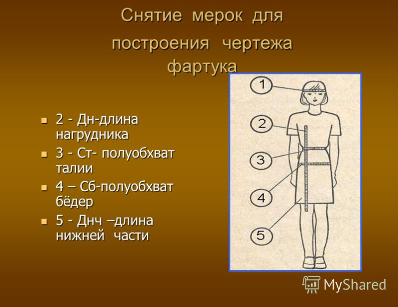 Снятие мерок для построения чертежа фартука 2 - Дн-длина нагрудника 3 - Ст- полуобхват талии 4 – Сб-полуобхват бёдер 5 - Днч –длина нижней части