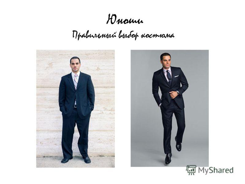 Юноши Правильный выбор костюма