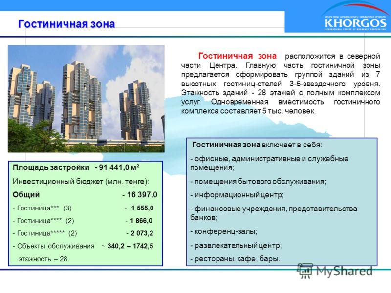 Гостиничная зона Гостиничная зона расположится в северной части Центра. Главную часть гостиничной зоны предлагается сформировать группой зданий из 7 высотных гостиниц-отелей 3-5-звездочного уровня. Этажность зданий - 28 этажей с полным комплексом усл