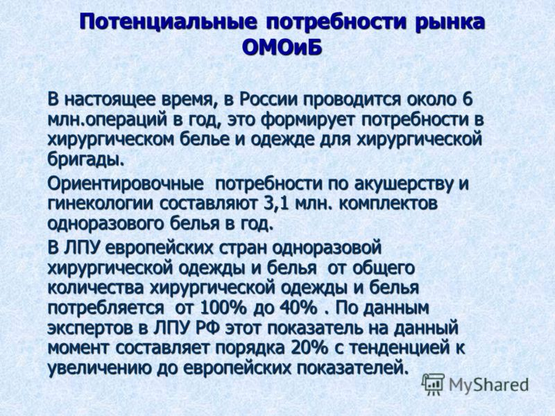 Потенциальные потребности рынка ОМОиБ В настоящее время, в России проводится около 6 млн.операций в год, это формирует потребности в хирургическом белье и одежде для хирургической бригады. Ориентировочные потребности по акушерству и гинекологии соста