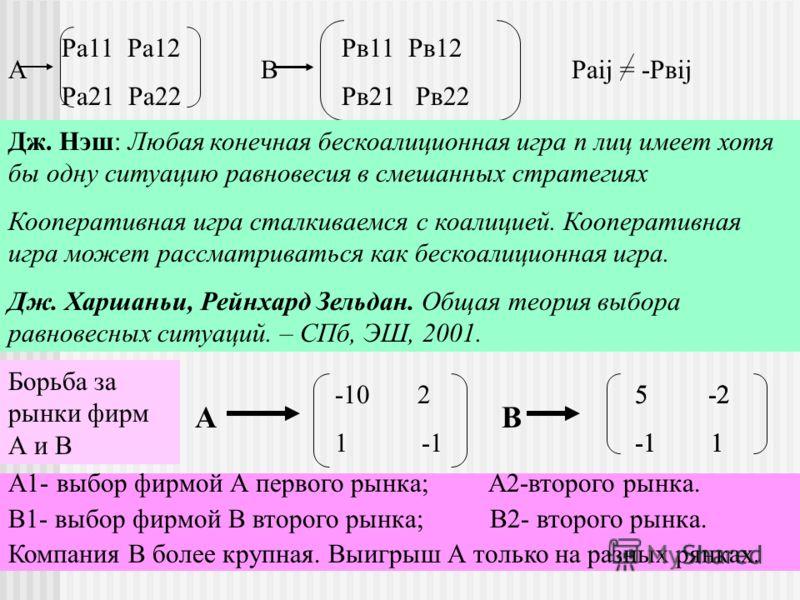 Кооперативные и бескоалиционные ИРУ А В Раij = -Рвij Ра11 Ра12 Ра21 Ра22 Рв11 Рв12 Рв21 Рв22 Дж. Нэш: Любая конечная бескоалиционная игра n лиц имеет хотя бы одну ситуацию равновесия в смешанных стратегиях Кооперативная игра сталкиваемся с коалицией.
