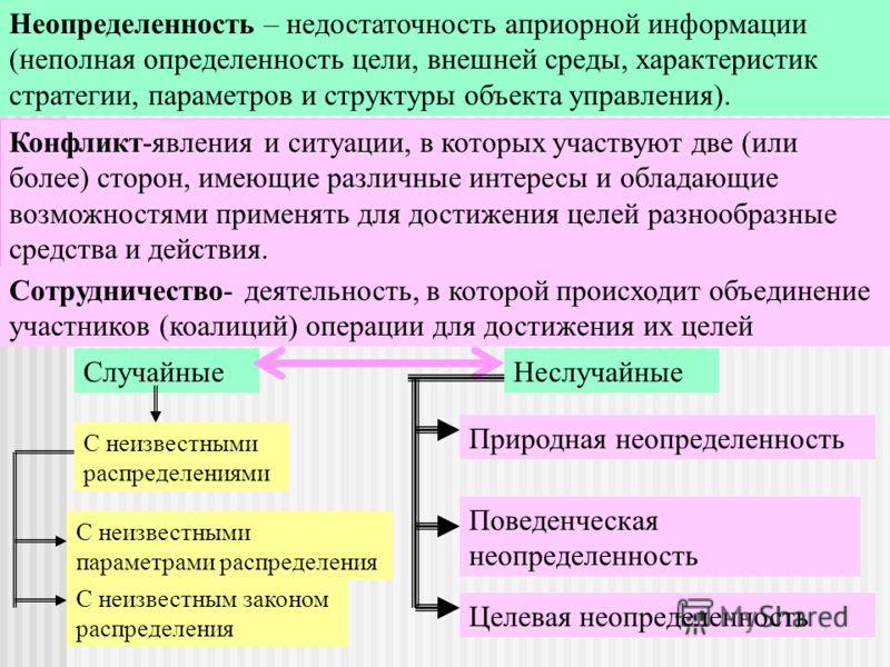 Неопределенности сотрудничества и конфликта Неопределенность – недостаточность априорной информации (неполная определенность цели, внешней среды, характеристик стратегии, параметров и структуры объекта управления). Конфликт-явления и ситуации, в кото