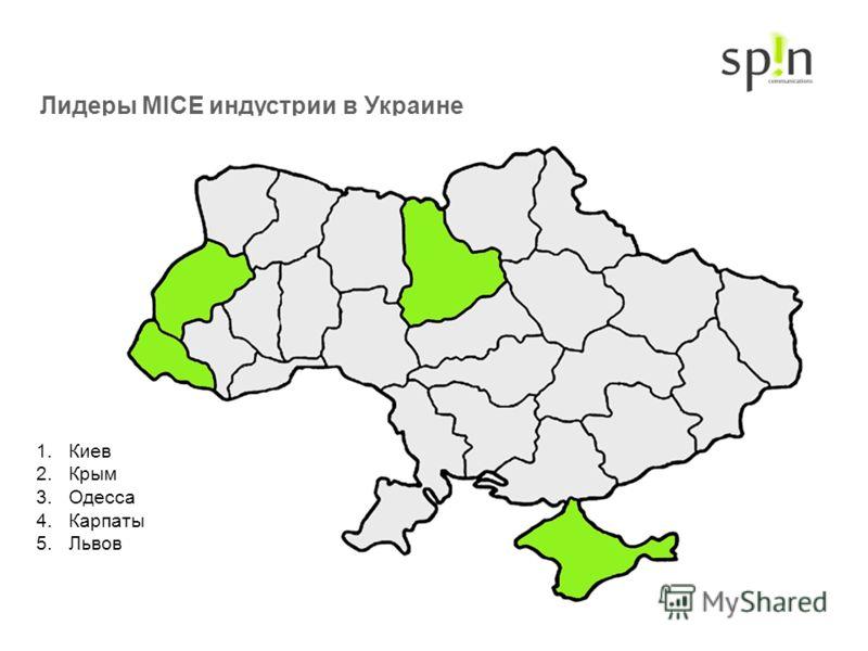 Лидеры MICE индустрии в Украине 1.Киев 2.Крым 3.Одесса 4.Карпаты 5.Львов
