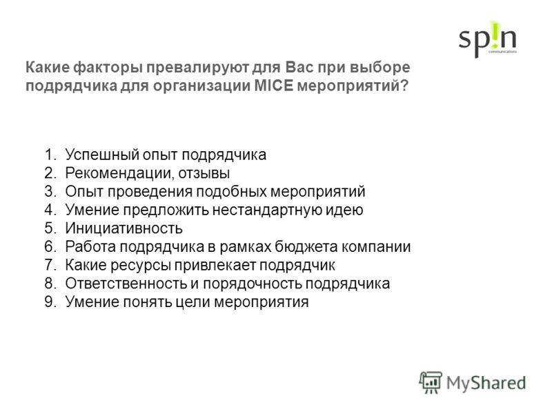 Какие факторы превалируют для Вас при выборе подрядчика для организации MICE мероприятий? 1.Успешный опыт подрядчика 2.Рекомендации, отзывы 3.Опыт проведения подобных мероприятий 4.Умение предложить нестандартную идею 5.Инициативность 6.Работа подряд