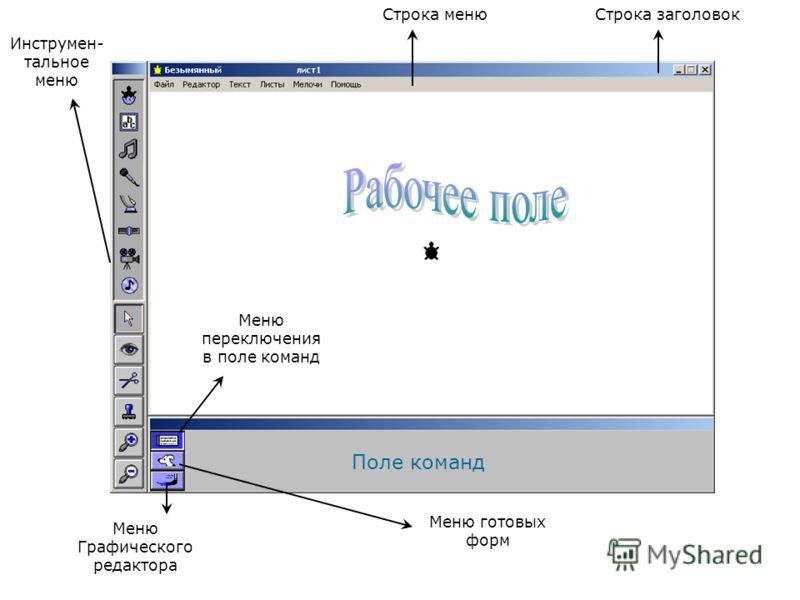 Меню переключения в поле команд Меню готовых форм Меню Графического редактора Инструмен- тальное меню Строка менюСтрока заголовок Поле команд