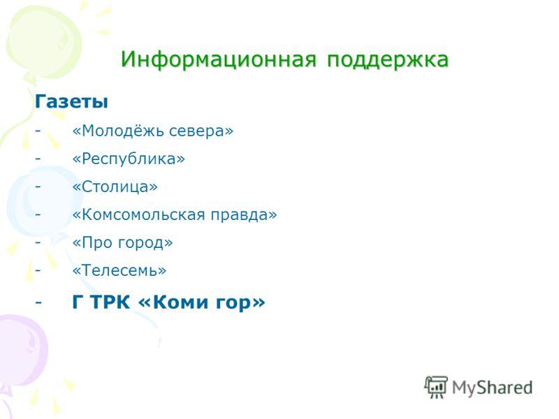 Информационная поддержка Газеты -«Молодёжь севера» -«Республика» -«Столица» -«Комсомольская правда» -«Про город» -«Телесемь» -Г ТРК «Коми гор»