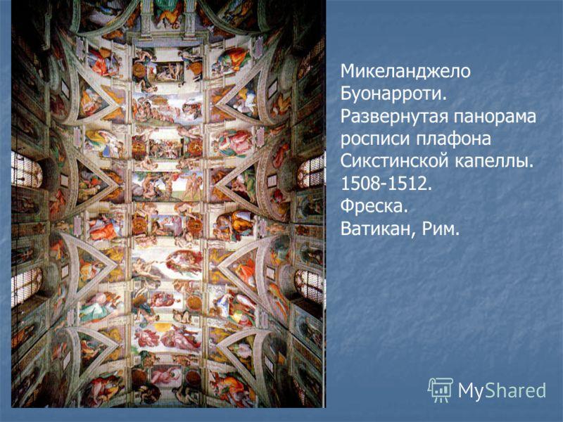 Микеланджело Буонарроти. Развернутая панорама росписи плафона Сикстинской капеллы. 1508-1512. Фреска. Ватикан, Рим.