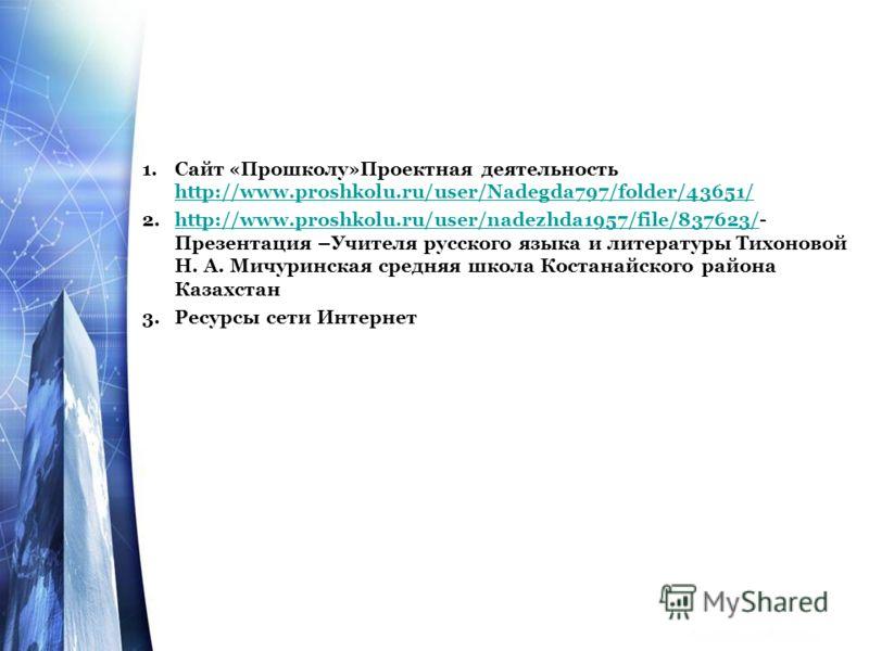 1.Сайт «Прошколу»Проектная деятельность http://www.proshkolu.ru/user/Nadegda797/folder/43651/ http://www.proshkolu.ru/user/Nadegda797/folder/43651/ 2.http://www.proshkolu.ru/user/nadezhda1957/file/837623/- Презентация –Учителя русского языка и литера