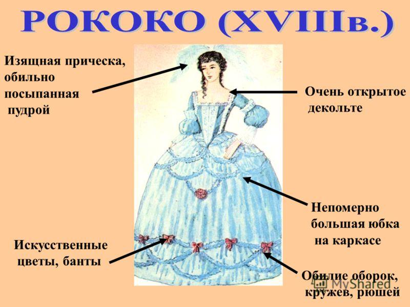 Непомерно большая юбка на каркасе Обилие оборок, кружев, рюшей Очень открытое декольте Искусственные цветы, банты Изящная прическа, обильно посыпанная пудрой