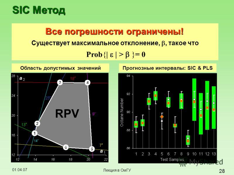 01.04.07 28 Лекция в ОмГУ SIC Метод Все погрешности ограничены! Существует максимальное отклонение,, такое что Prob{| | > }= 0 Область допустимых значений RPV Прогнозные интервалы: SIC & PLS