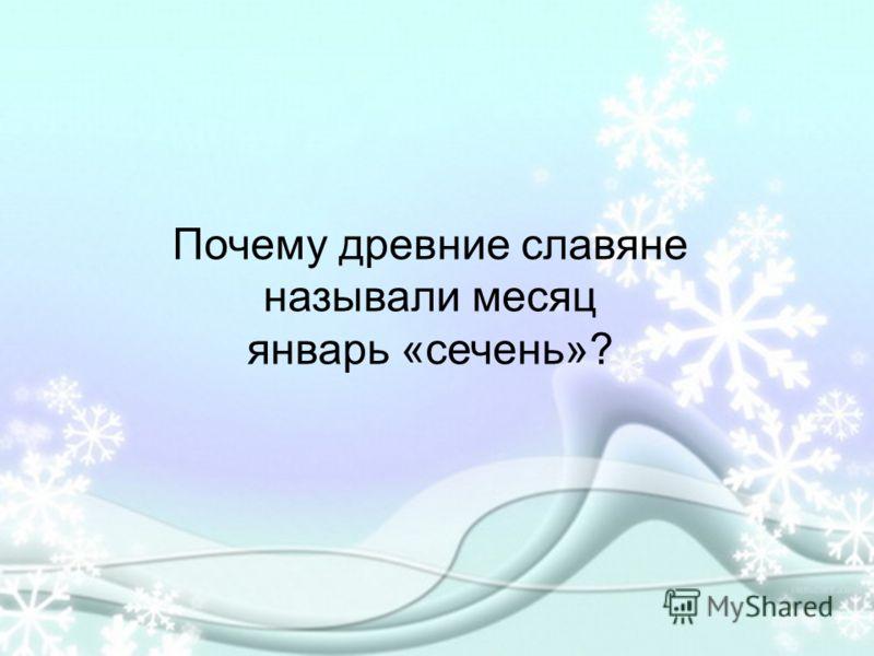 Почему древние славяне называли месяц январь «сечень»?