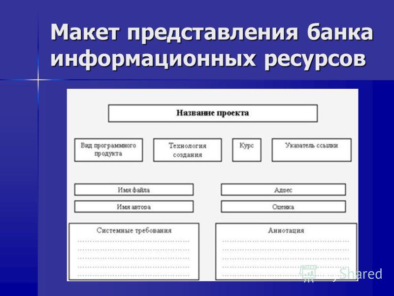 Макет представления банка информационных ресурсов