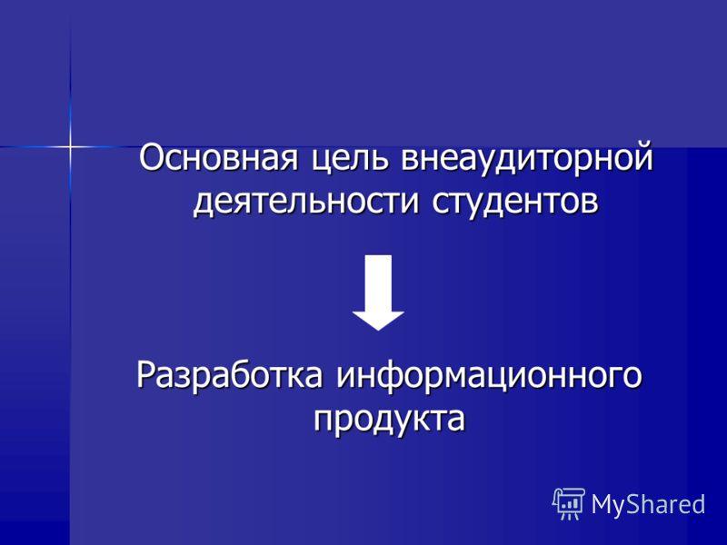 Основная цель внеаудиторной деятельности студентов Разработка информационного продукта
