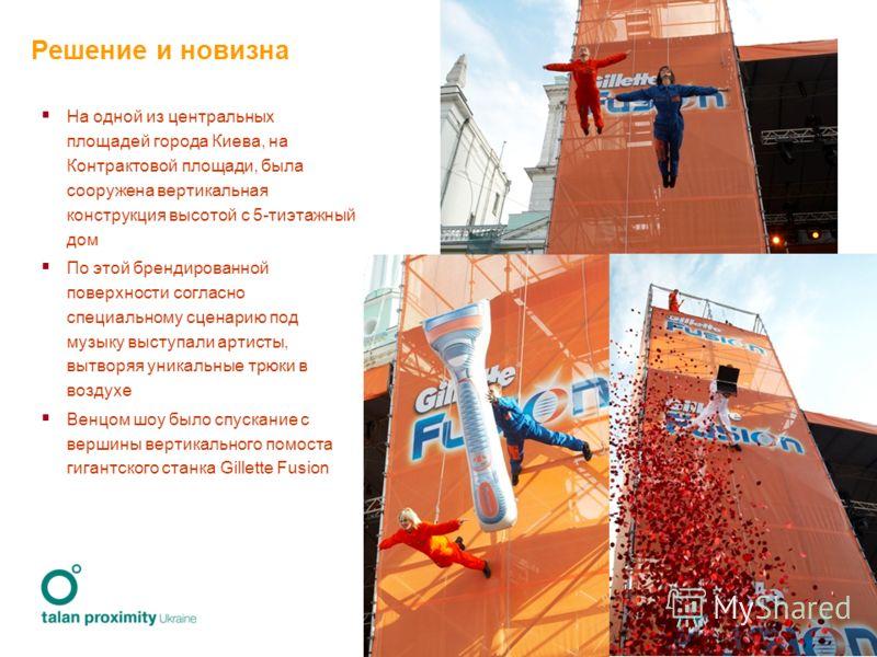 4 Решение и новизна На одной из центральных площадей города Киева, на Контрактовой площади, была сооружена вертикальная конструкция высотой с 5-тиэтажный дом По этой брендированной поверхности согласно специальному сценарию под музыку выступали артис